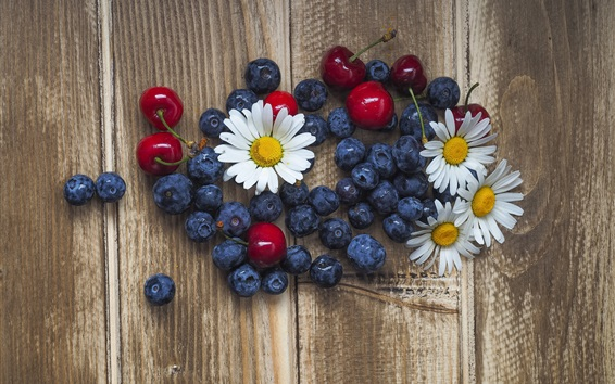 Wallpaper Blueberries, chamomile, cherries, wood background