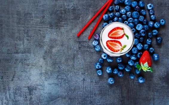 Wallpaper Blueberries, milk, strawberry