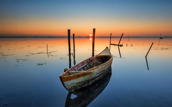 배경 화면 보트, 호수, 새벽, 일출