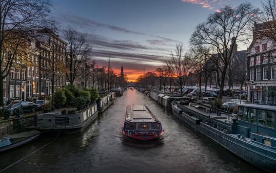 Wallpaper Boat, river, houses, trees, evening, Netherlands