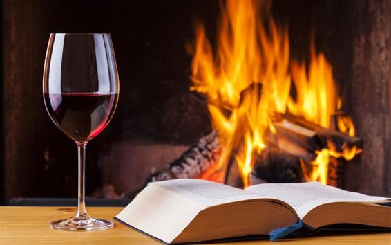 Wallpaper Book, wine, fire