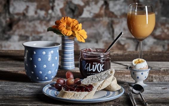 Wallpaper Breakfast, jam, bread, juice, egg