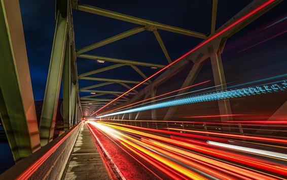 Fond d'écran Pont, lignes légères, vitesse, nuit