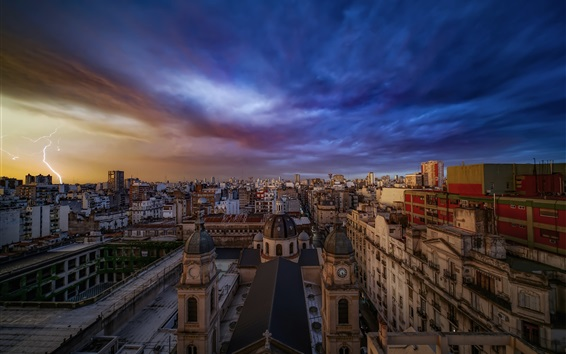 Wallpaper Buenos Aires, city, buildings, clouds, lightning, dusk, Argentina