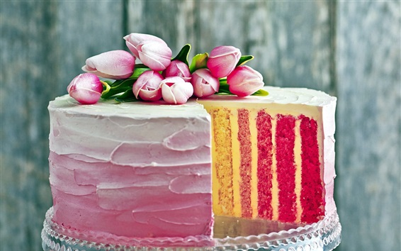 Wallpaper Cake, multi layers, pink tulips