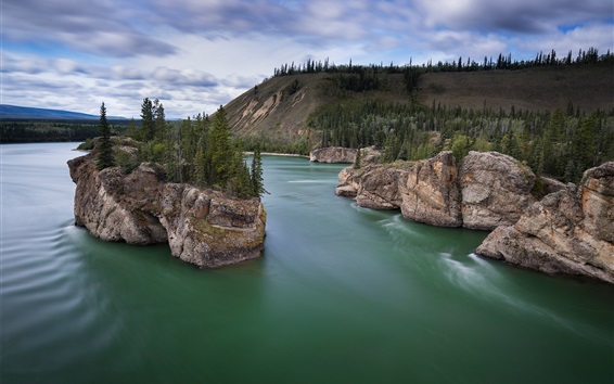Wallpaper Canada, Yukon River, trees, rocks, island