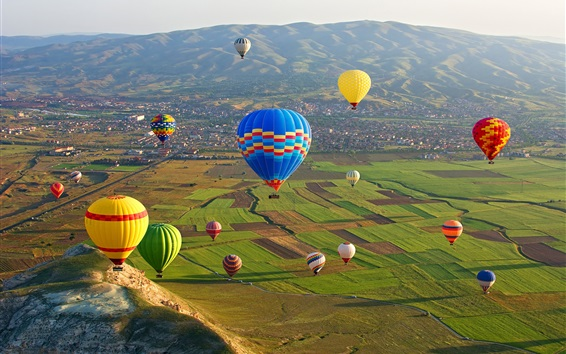 Wallpaper Cappadocia, Goreme National Park, Turkey, colorful hot air balloons