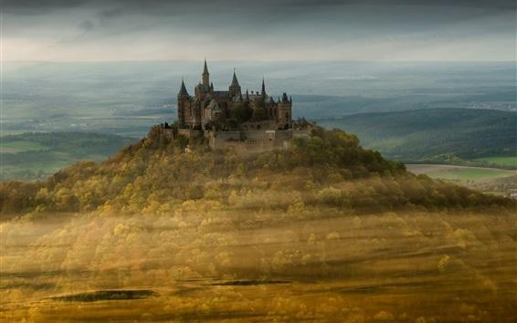 Обои Замок Гогенцоллерн, Германия, деревья, осень, туман, утро