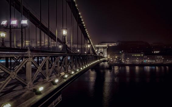 Fond d'écran Pont des chaînes, Budapest, nuit, ville, rivière, lumières
