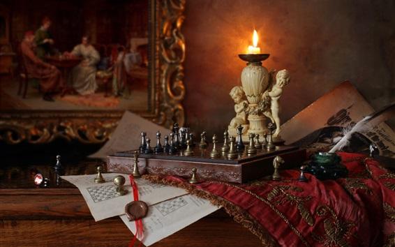 Обои Шахматы, свеча