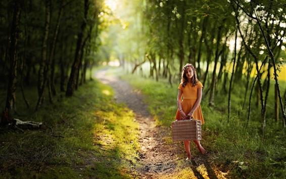 Wallpaper Child girl, orange skirt, suitcase, path, trees