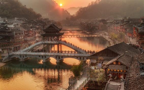 Wallpaper China, Hunan Province, village town, bridge, river, morning, sunrise