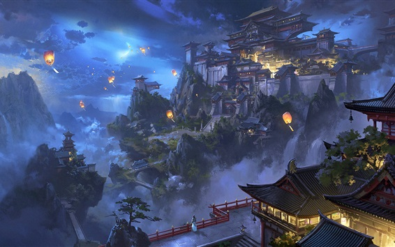 Papéis de Parede Paisagem chinesa, cidade, montanhas, árvores, lanternas, retro, pintura em aquarela
