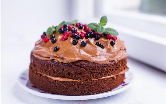 Wallpaper Chocolate cake, berries, food, dessert