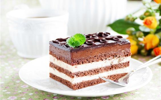 Обои Шоколадный торт, десерт, крем, яркий