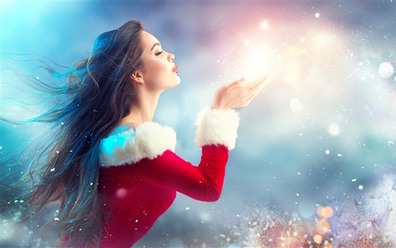 Wallpaper Christmas girl, lady style, romantic, hands, tree, decoration