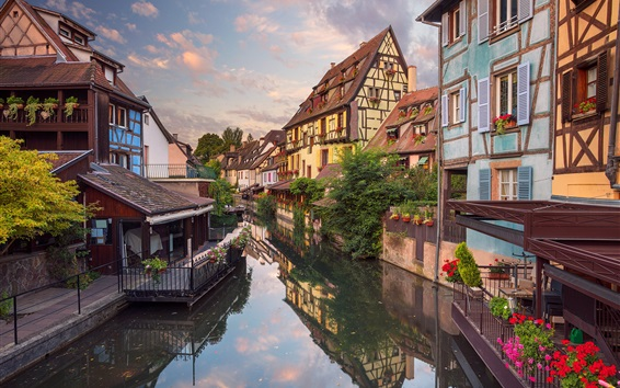 Wallpaper City, houses, river, flowers, Colmar, France