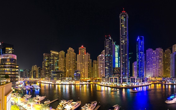 Wallpaper City night view, Dubai, river, skyscrapers, lights