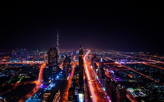 Fond d'écran Vue de la ville de nuit, Émirats Arabes Unis, Dubaï, gratte-ciels, routes, lumières