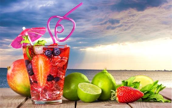 Fond d'écran Cocktail, boissons, citron vert, baies, mer