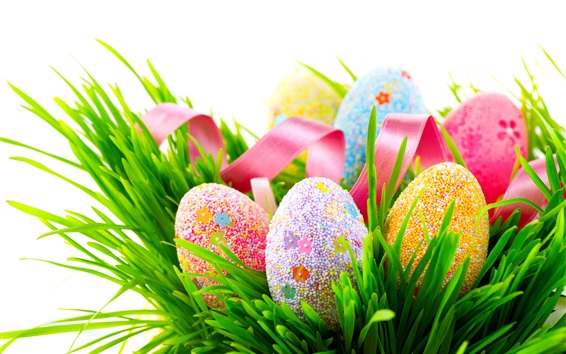 Wallpaper Colorful eggs, many balls covered, grass, spring, Easter
