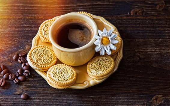 Wallpaper Cookies, coffee, cup, coffee beans