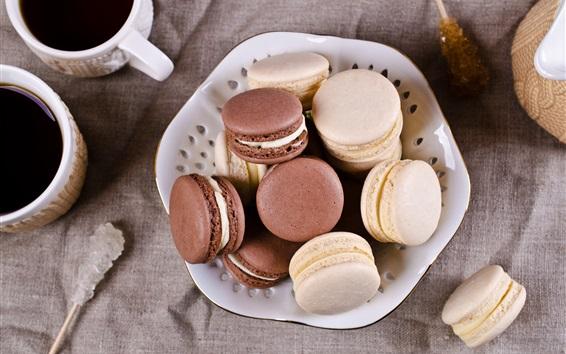 Fond d'écran Biscuits, macaron, café, tasses