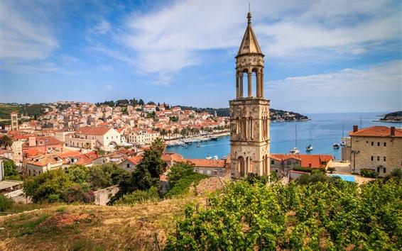 Papéis de Parede Croácia, Hvar, cidade, torre, iates, mar, costa