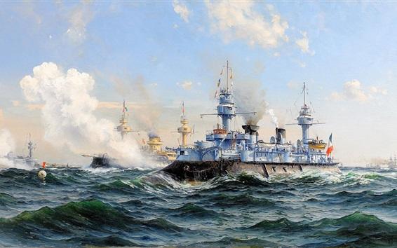Wallpaper Cruiser, Navy, sea, waves, oil painting
