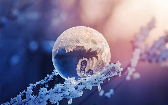 Wallpaper Crystal ball, snow, frost, glare