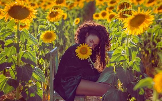 Wallpaper Curls hair girl, chair, sunflowers, mood