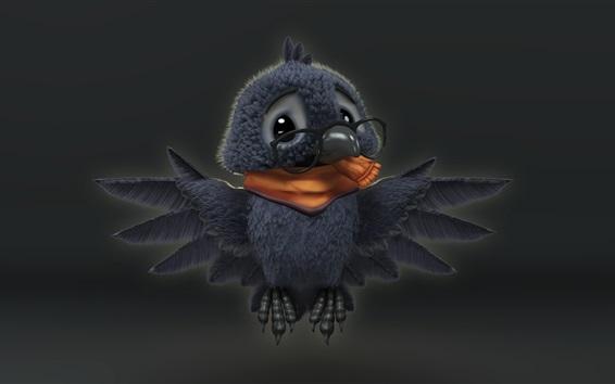 Papéis de Parede Pássaro bonito, corvo, asas, desenhos animados de arte