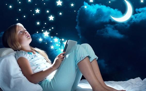Fond d'écran Mignonne petite fille, enfant, imagination, étoiles, lune, nuages