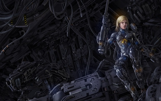 Wallpaper Cyborg, blonde girl, fiction, art picture