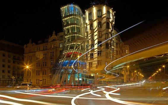 Wallpaper Czech Republic, Prague, dancing house, night, lights
