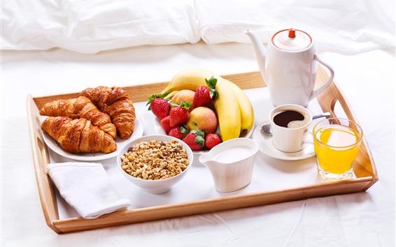 Обои Вкусный завтрак, круассаны, фрукты, молоко, сок, мюсли, кофе