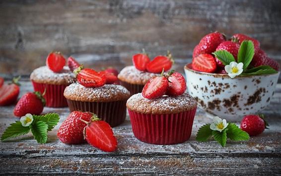 Wallpaper Delicious cupcakes, powdered sugar, strawberry