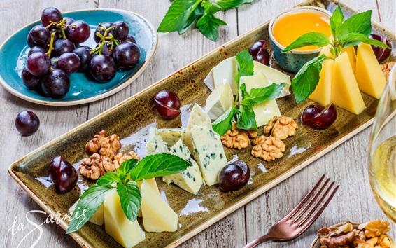 Fond d'écran Dessert, noix, fromage, raisins