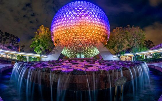 Papéis de Parede Disneyland, fonte, bola, águas, noite, luzes