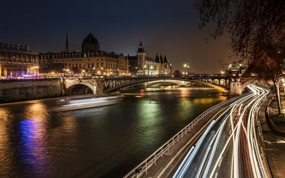 Wallpaper District of Notre-Dame, Paris, France, night, bridge, lights, buildings