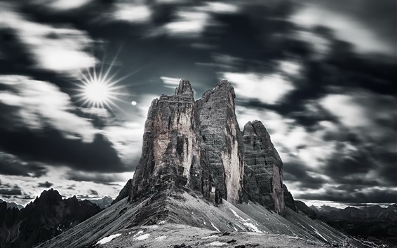 Wallpaper Dolomites, Italy, mountains, sky, clouds, sun