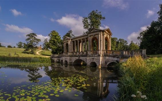 Wallpaper England, Buckinghamshire, Palladian Bridge, Stowe Park, river
