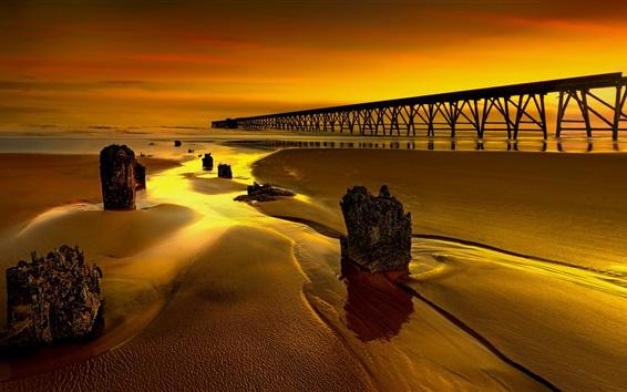Wallpaper England, glow, pier, dusk, bridge, sea, coast