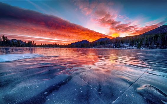 Wallpaper Estes Park, Colorado, United States, lake, ice, clouds, trees, mountains, sunset