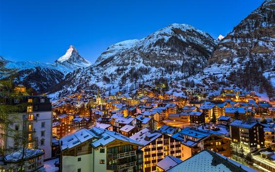 Fond d'écran Europe, Suisse, Cervin, Zermatt, Alpes, nuit de la ville, lumières