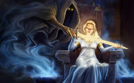 Wallpaper Fantasy blonde girl, death, sword