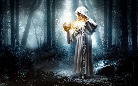 Wallpaper Fantasy girl in the forest, magic, ball, light