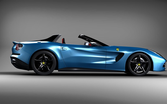 Обои Ferrari синий вид сбоку автомобиля, спортивный автомобиль