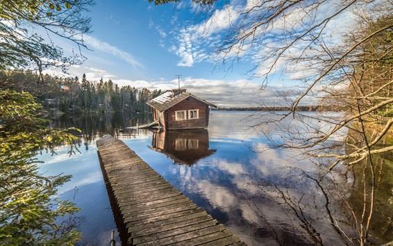 Обои Финляндия, озеро, дом, пирс, деревья, облака, небо