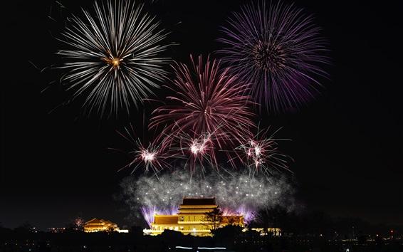 Papéis de Parede Fogos de artifício, noite da cidade, feriado